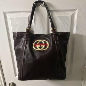 Gucci Dark Brown Leather Britt Large Tote Bag